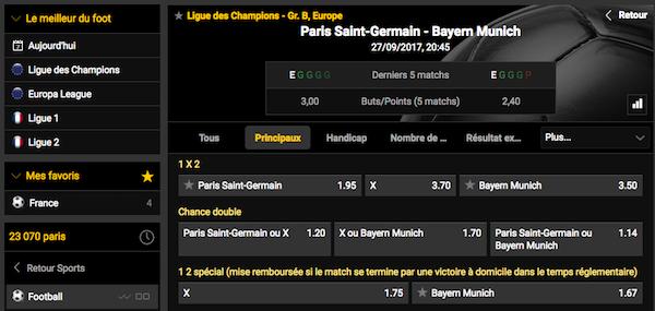 Pari PSG Bayern Bwin