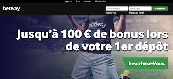 Recevez 100 euros de bonus avec vos mises de paris sportifs chez Betway