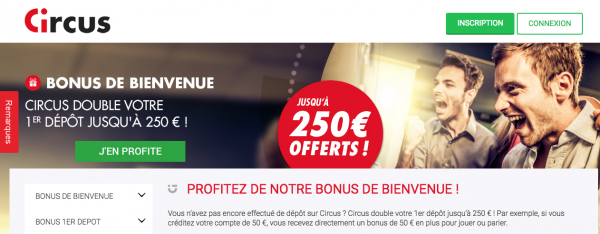 250 euros de bonus vous attendent pour vos paris sportifs chez Circus