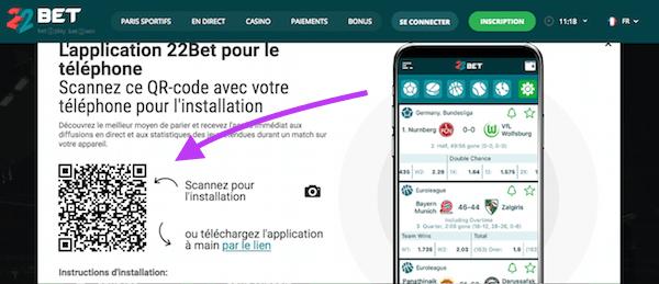 Code QR pour App 22BEt iOs