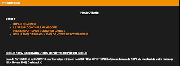 Sportcash Bonus de bienvenue