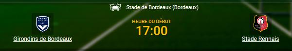 Girondins de Bordeaux joue contre Stade Rennais en Ligue 1 ce soir