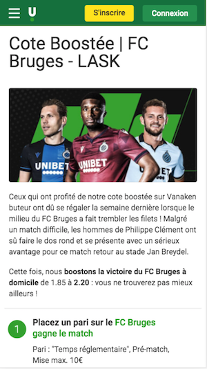 Bruges vs Lask Unibet