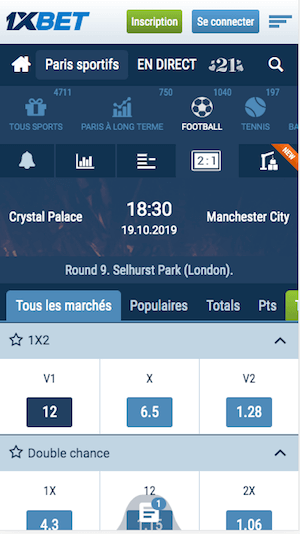 parier Crystal Palace vs Man City
