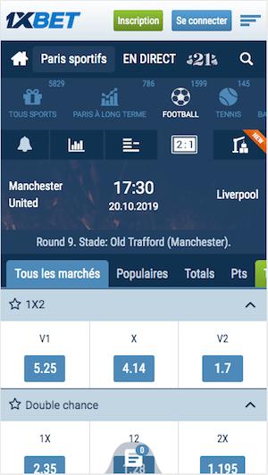 Man Utd vs Liverpool cotes bookmaker
