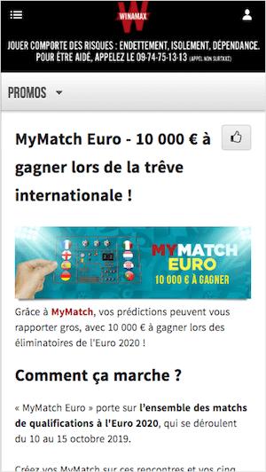 MyMatch Euro avec Winamax