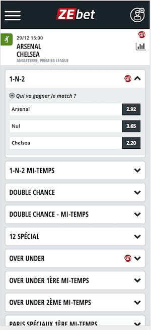 Paris sportifs Arsenal Chelsea