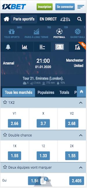 Cotes Arsenal Manchester United