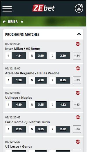 ZEbet les cotes Inter Rome