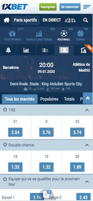 cotes Barca Vs Atletico madrid