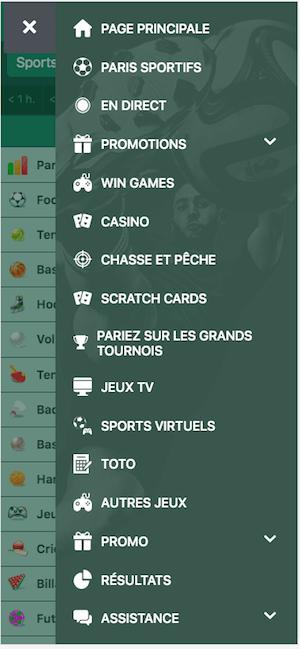 betwinner menu mobile