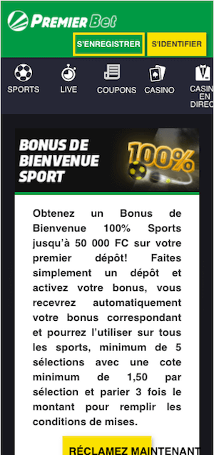 premier bet bonus sur mobile