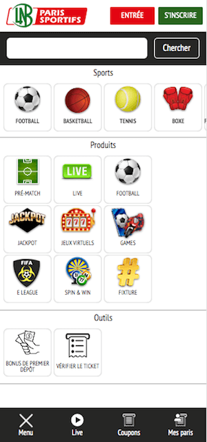lnb menu mobile