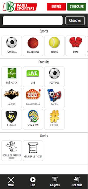 lnb menu sur mobile