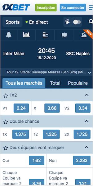 meilleures cotes pour Inter vs Naples