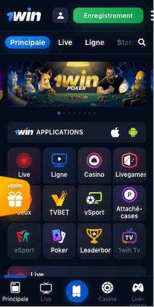menu mobile 1win