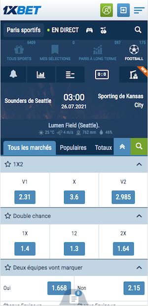 cotes Seattle Sounders vs Sporting Kansas City