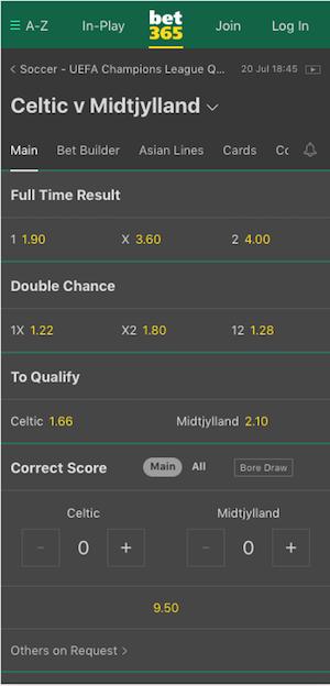 cotes Celtic Glasgow vs Midtjylland