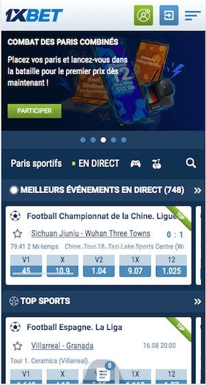 1xbet mobile accueil