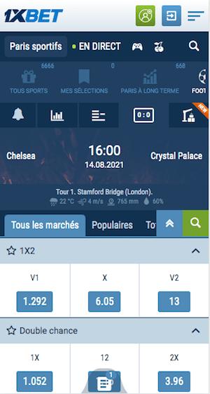 cotes et promo chelsea vs crystal palace