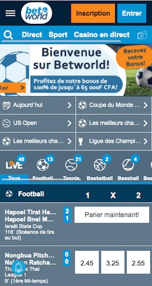 betworld menu